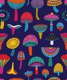 摘要采蘑菇在引起幻觉的颜色的无缝的样式 向量例证