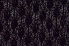 摘要黑色被编织的织品背景 免版税库存照片