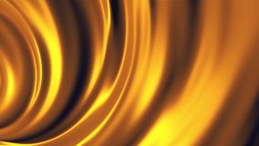 摘要,软,弯曲的宽线移动在金黄发光,无缝的圈的一个圈子 为摘要关闭,橙色 库存例证