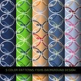 摘要5颜色创造性的鱼无缝的样式 免版税库存照片