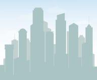 摩天大楼剪影有蓝天风景的背景设计的 免版税库存图片