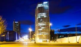 摩天大楼区夜视图。巴塞罗那 免版税图库摄影
