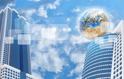 摩天大楼和地球与透明长方形 库存图片