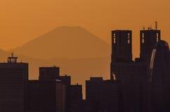 摩天大楼和富士山 免版税库存照片