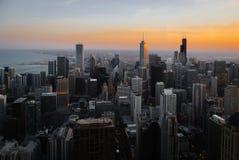 摩天大楼和芝加哥地平线现代大厦  库存图片