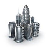 摩天大楼和magistrals。 在白色的镀铬物城市 免版税库存图片