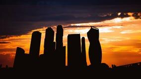 摩天大楼国际商业中心城市Timelapse剪影日落的在莫斯科俄罗斯 股票录像