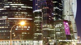摩天大楼国际商业中心(城市)在晚上,莫斯科,俄罗斯 免版税库存图片