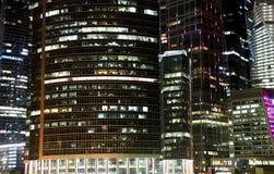 摩天大楼国际商业中心(城市)在晚上,莫斯科,俄罗斯 库存照片