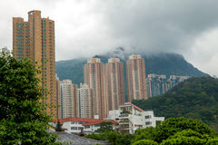 摩天大楼在多山香港 库存图片