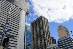 摩天大楼在布里斯班,南银行,晴朗明亮的澳大利亚 库存照片