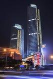摩天大楼在晚上在广州市中心,中国 免版税库存图片