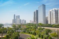 摩天大楼在Zhujiang新的城镇 免版税库存照片