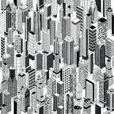 摩天大楼城市等量无缝的样式 向量例证