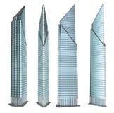 摩天大楼大厦集合 查出在白色 免版税库存图片