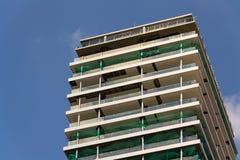 摩天大楼建造场所有蓝色清楚的天空拷贝空间背景 图库摄影
