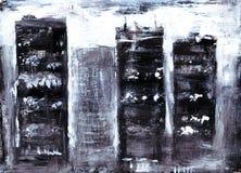 摩天大楼房子黑剪影反对一个城市的背景的有刷子图片绘的白色窗口的 免版税库存照片