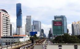 摩天大楼现代门面在曼谷的中心 图库摄影
