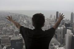 摩天大楼的成人人 免版税库存照片