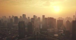 摩天大楼看法在黄昏的Semanggi CBD 影视素材