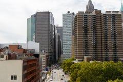 摩天大楼看法从布鲁克林大桥的,街市,纽约 免版税库存照片
