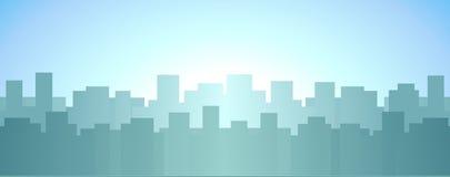 摩天大楼,日出在城市背景中 免版税图库摄影