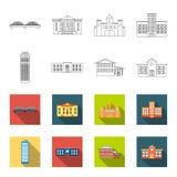 摩天大楼,警察,旅馆,学校 在概述, flet样式传染媒介标志股票例证的修造的集合汇集象 库存图片
