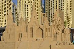 摩天大楼-沙子雕塑,迪拜 库存照片