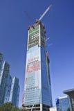 摩天大楼建设中在大连市中心,中国 免版税库存照片