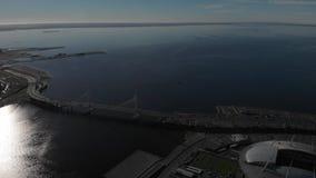 摩天大楼Lakhta中心俄罗斯天然气工业股份公司总部 体育场Zenit竞技场 芬兰海湾 股票视频