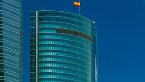 摩天大楼timelapse上面在四个塔商业区与最高的摩天大楼在马德里和西班牙 影视素材