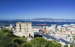摩尔人城堡在直布罗陀 免版税库存照片
