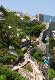 摩尔人城堡长的悬墙  辛特拉 葡萄牙 库存照片
