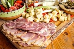摩尔多瓦传统早餐 免版税库存图片