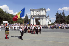 摩尔多瓦,基希纳乌,美国独立日,国民议会广场, n 库存照片