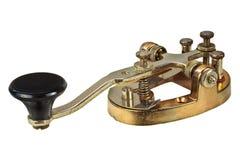 摩尔斯电码在白色隔绝的电信法设备 免版税库存照片