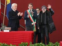 摩德纳,意大利- 2018年1月17日-摩德纳商谈的名誉公民身份音乐家的瓦斯考Rossi 库存图片