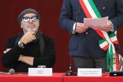 摩德纳,意大利- 2018年1月17日-摩德纳商谈的名誉公民身份音乐家的瓦斯考Rossi 库存照片