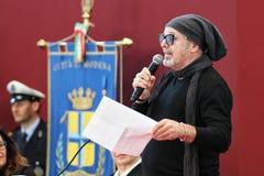 摩德纳,意大利- 2018年1月17日-摩德纳商谈的名誉公民身份音乐家的瓦斯考Rossi 免版税库存照片