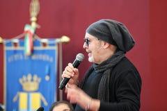 摩德纳,意大利- 2018年1月17日-摩德纳商谈的名誉公民身份音乐家的瓦斯考Rossi 免版税库存图片