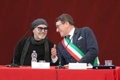 摩德纳,意大利- 2018年1月17日-摩德纳商谈的名誉公民身份音乐家的瓦斯考Rossi 免版税图库摄影