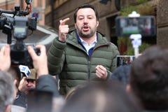 摩德纳-意大利, 2018年2月20日:马泰奥Salvini,公开精明会议莱加Nord 库存照片