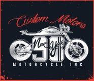 摩托车习惯T恤杉设计 免版税库存图片