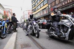 摩托车俱乐部抗议  奥斯陆 图库摄影