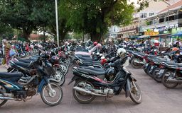 摩托车停车处在亚洲 免版税库存照片