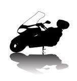 黑摩托车剪影  免版税图库摄影