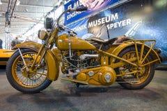 摩托车哈利戴维森V/VI Gespann, 1931年 免版税库存照片