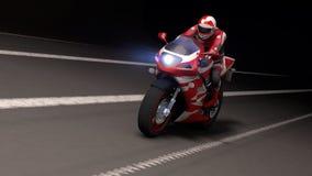 摩托车在晚上 免版税库存照片