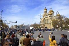 摩托车季节开头,瓦尔纳保加利亚 库存图片