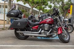 摩托车展示在Palamos在西班牙 27 05 2018年西班牙 免版税库存照片